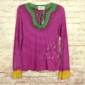 Gypsy 05 Pink Tie Dyed Long Sleeve Top Embroidered